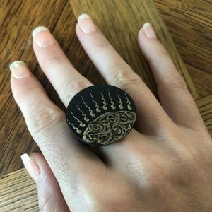Handpainted coco wood ring siZe 7